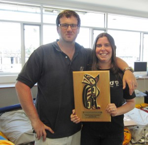 Joy and Stuart Dahlgren received their 2014 Swiftsure Sponsor plaque in their new loft.