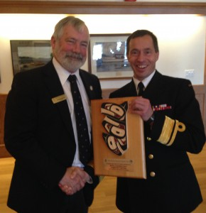 Rear Admiral Gilles Couturier receives thanks from Commodore Andrew McBride for the ongoing support of the Royal Canadian Navy