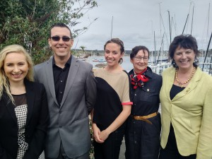 L-R; Shaw TV's Lisa Pysmenny, Chad Grice of Swiftsure, Spinnakers' Sasha Laurin, Charlotte Gann of Swiftsure & Shaw TV's Daphne Goode